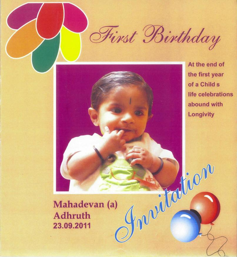 1st Birthday Invitation Wording Tamil Language Sfb
